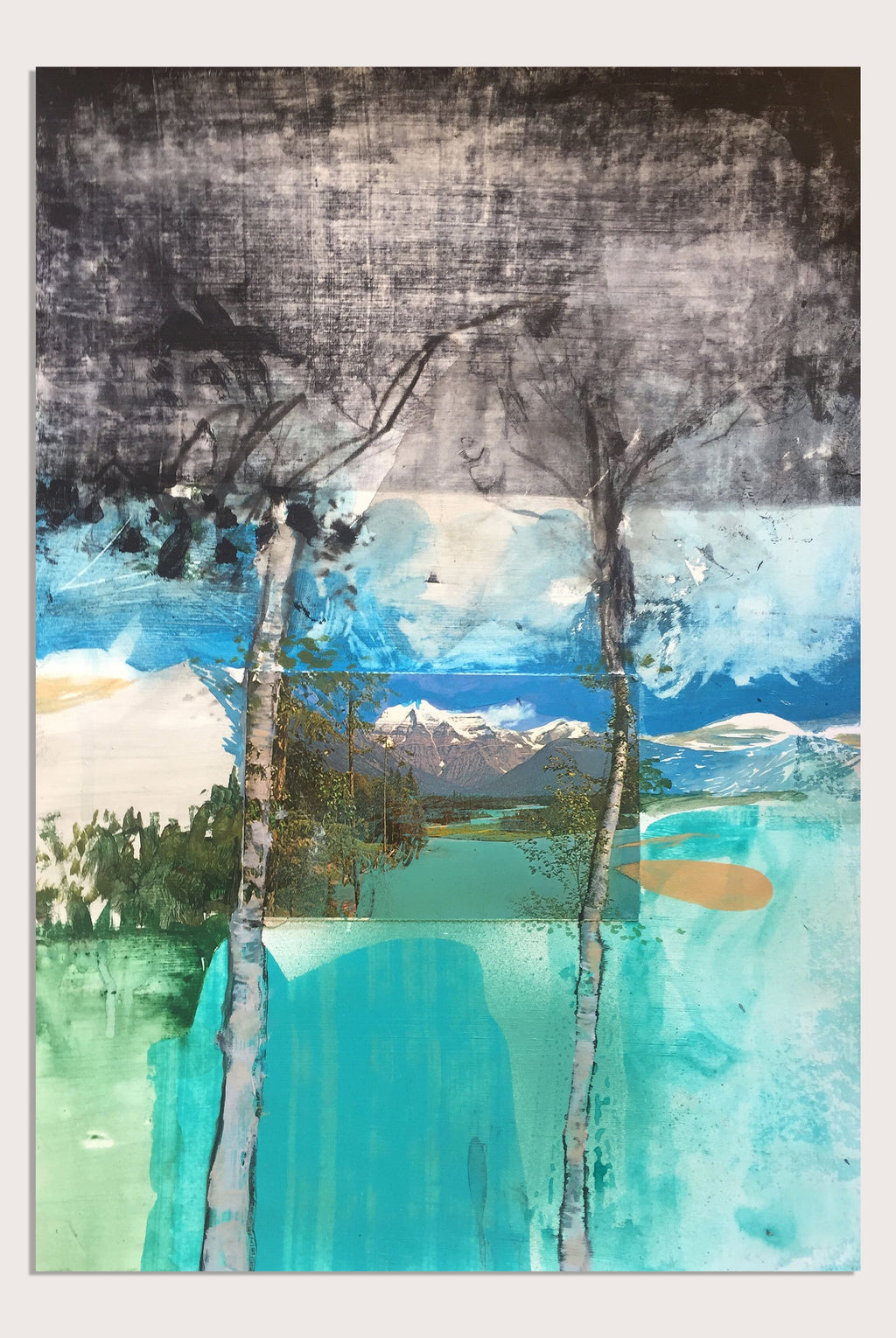 'Fake Views VII: Berg Lake', a new landscape painting and collage by contemporary artist Faye Dobinson
