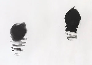 Detail of 'Coots', a minimal monotype by contemporary, woman artist Frances Gynn
