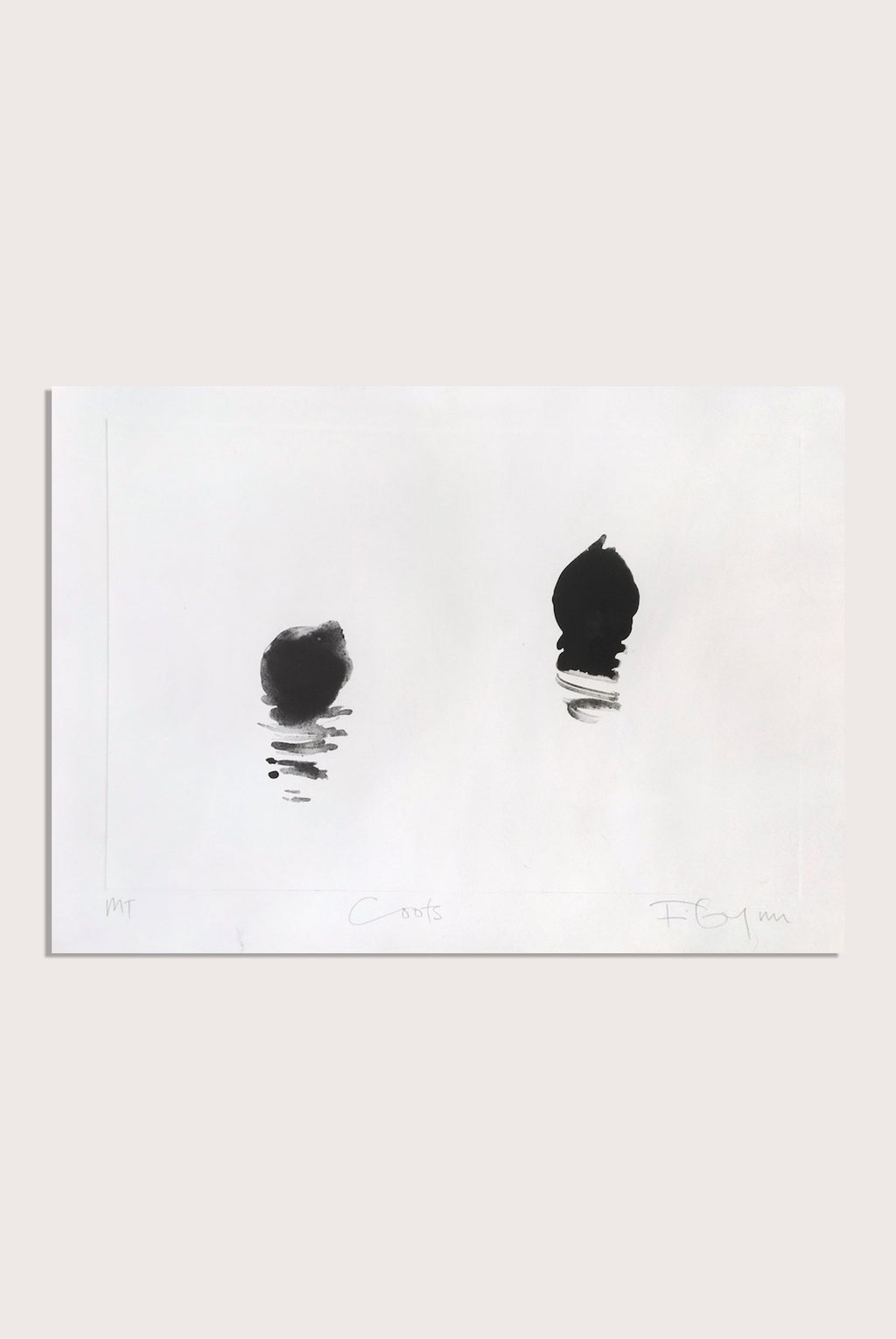 'Coots', a minimal monotype by contemporary, woman artist Frances Gynn