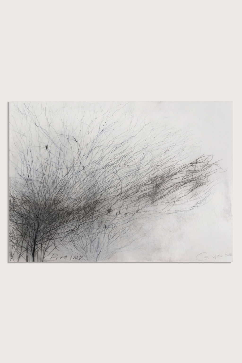 'Bird Talk', a representational drawing by woman artist Frances Gynn