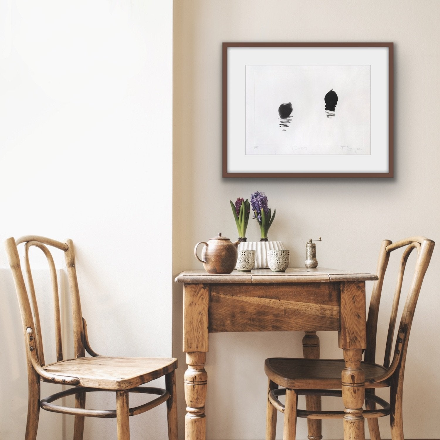 'Coots', a minimal monotype by contemporary, woman artist Frances Gynn, shown in situ