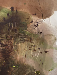 Detail of 'Spring', an representational landscape painting by contemporary, woman artist Frances Gynn