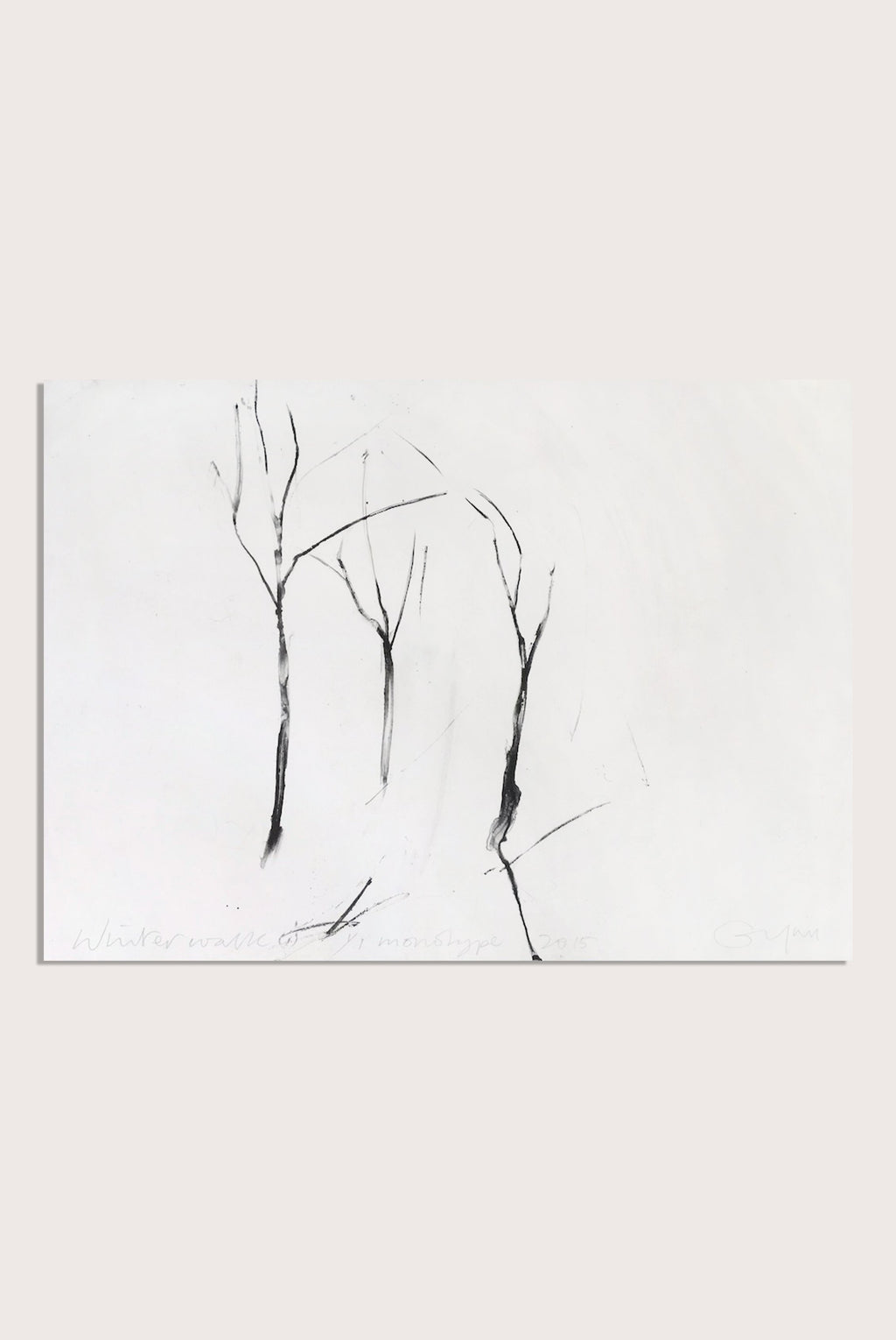 'Winter Walk (i)', a minimalist monotype by contemporary, woman-artist Frances Gynn