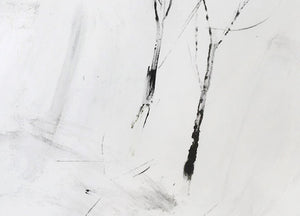 Detail of 'Winter Walk (ii)', a minimalist monotype by contemporary, woman-artist Frances Gynn