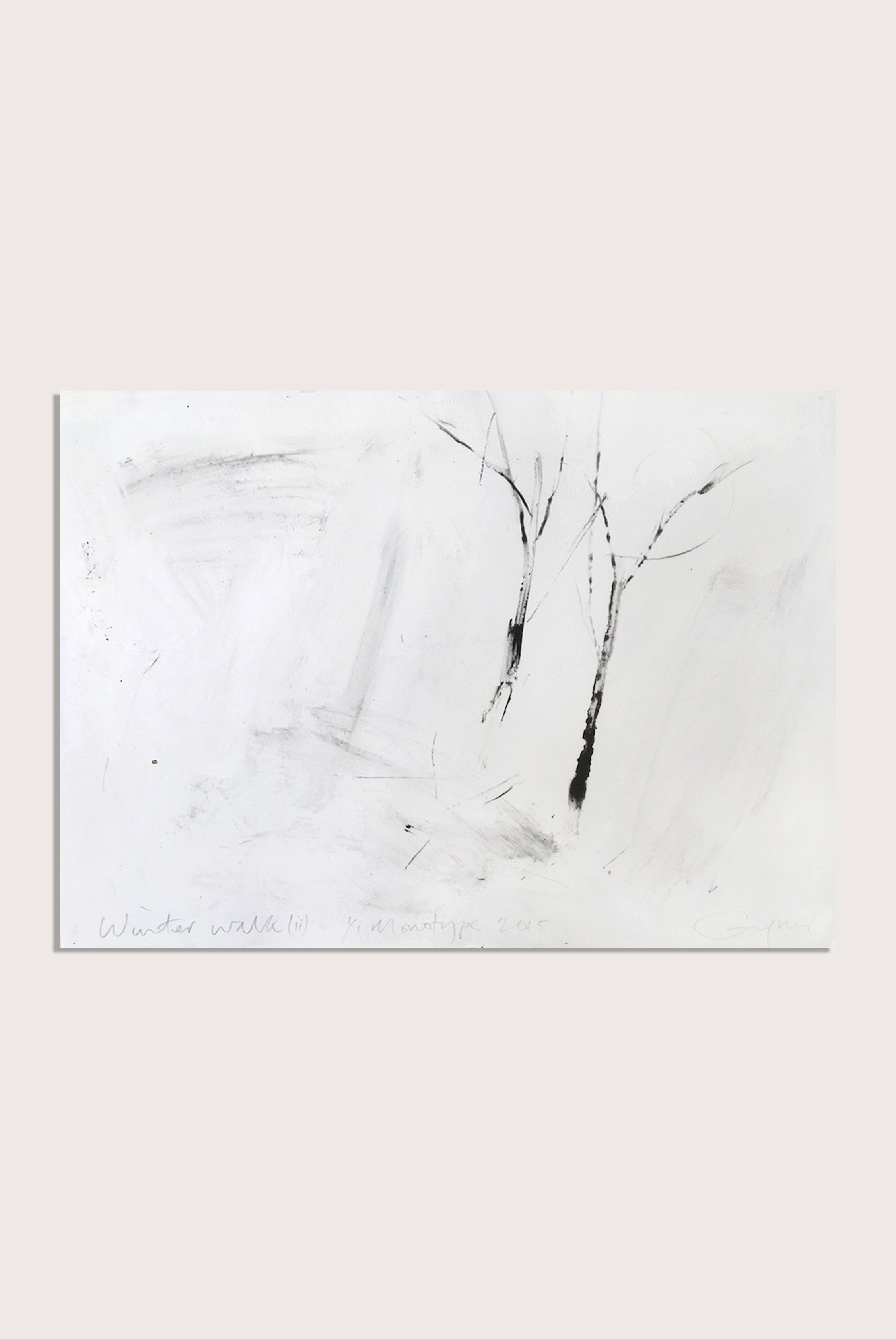 'Winter Walk (ii)', a minimalist monotype by contemporary, woman-artist Frances Gynn