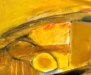 Detail of an expressive, abstract landscape by contemporary, woman artist Jane Hodgson