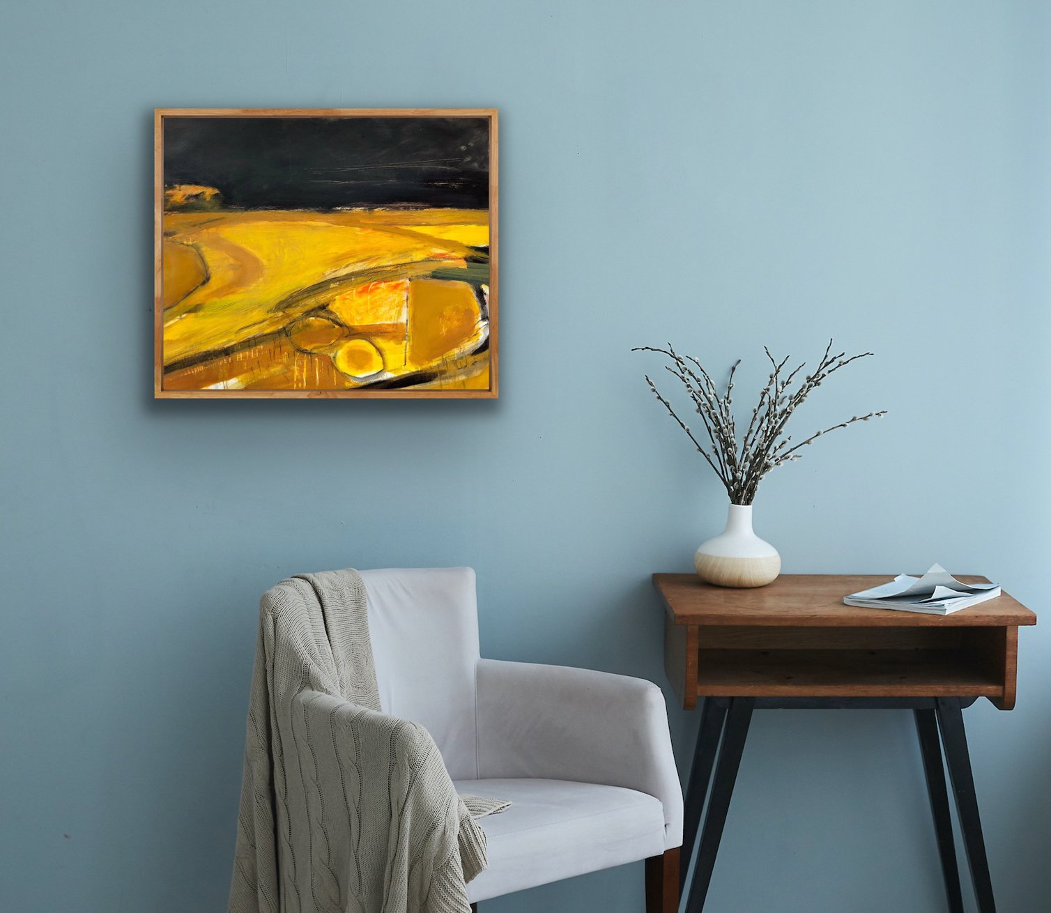 An abstract landscape by contemporary, woman artist Jane Hodgson, shown in situ