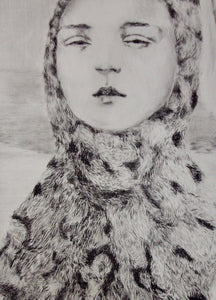 Detail of 'Leopard', a limited edition, figurative etching by contemporary artist Jesse Leroy Smith