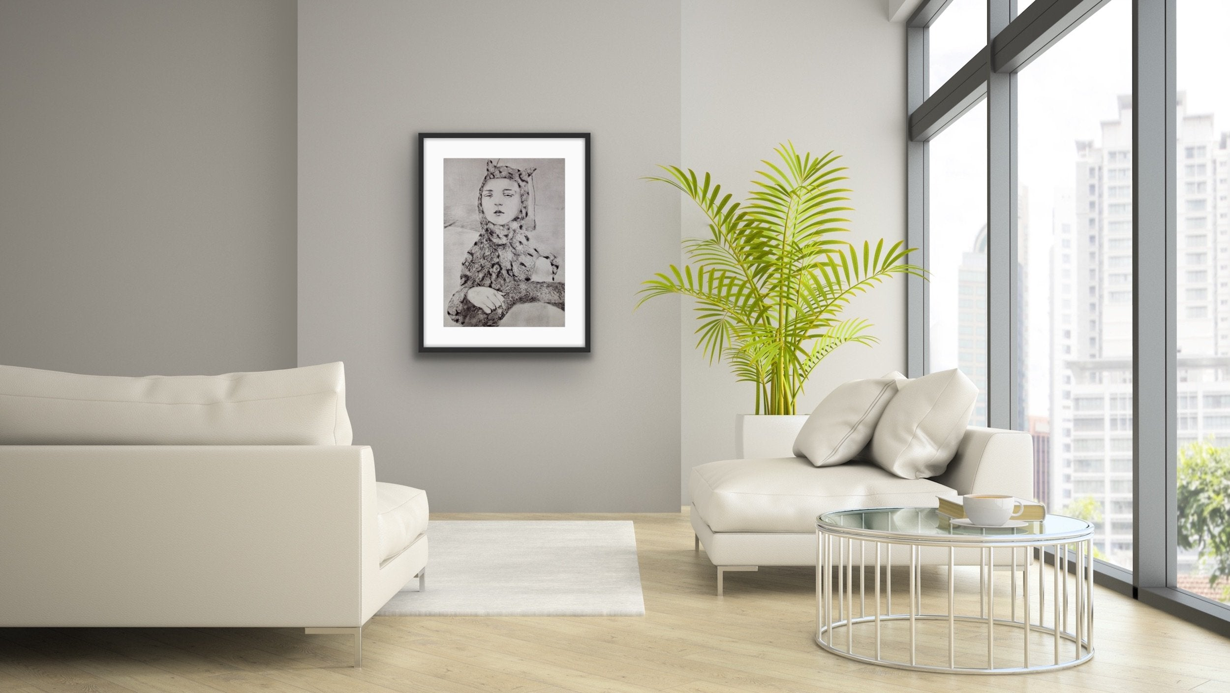 'Leopard', a limited edition, figurative etching by contemporary artist Jesse Leroy Smith, shown in situ