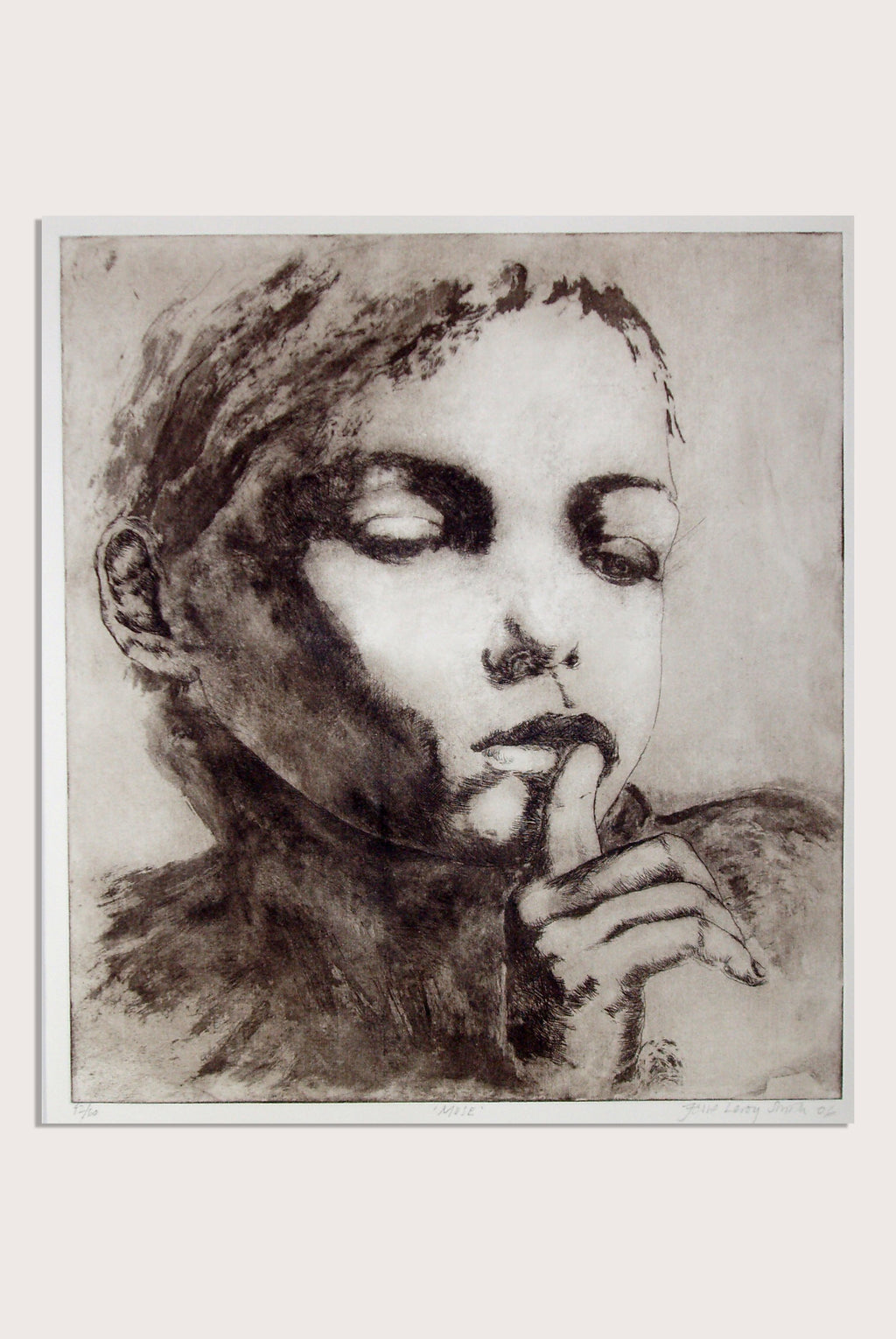 'Muse', a limited edition, figurative etching by contemporary artist Jesse Leroy Smith