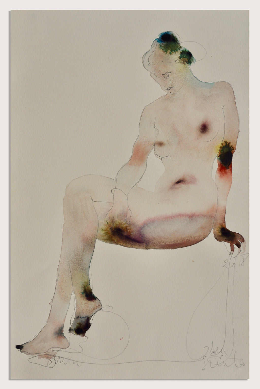 'Seated Woman', a figurative, watercolour painting by contemporary artist Jesse Leroy Smith
