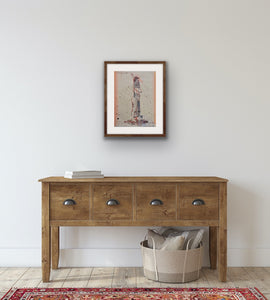 'Snake Skin', a figurative drawing collaged over abstract painting, by contemporary artist Jesse Leroy Smithrtist Jesse Leroy Smith, shown in situ