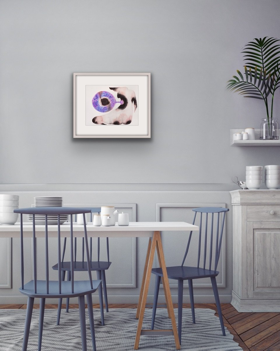 'Figure Dreams Of Planet From Soul Place', a watercolour painting by contemporary, woman-artist and shaman Kate Walters, shown in situ