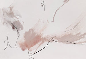 Detail of 'If You've Ever Known Longing This Is It', an expressive life-drawing by contemporary, woman artist Katherine Sheers