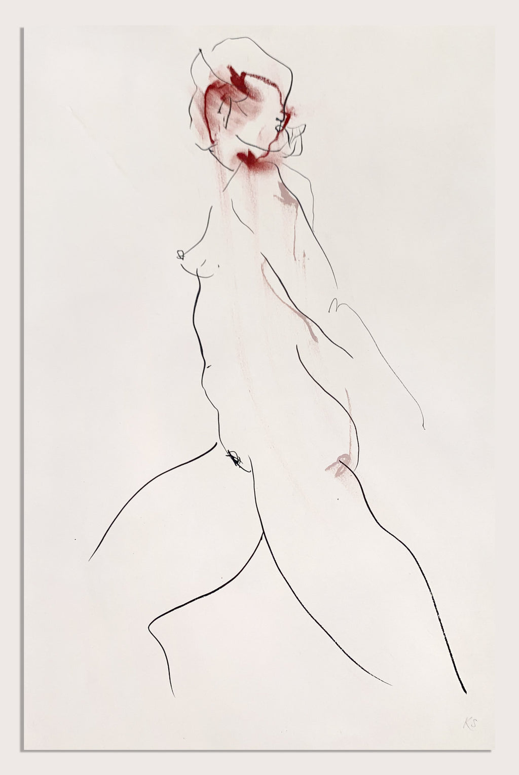 An expressive life drawing by contemporary, woman artist Katherine Sheers