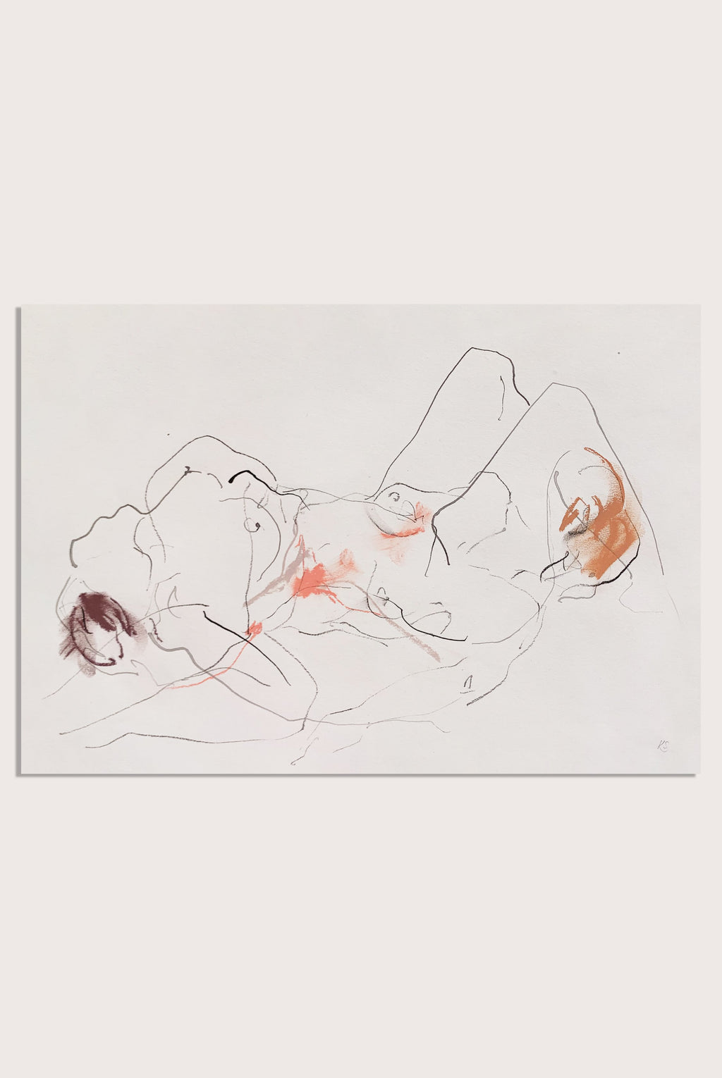 'The Body Remembers - Entwined III', a life drawing by contemporary, woman artist Katherine Sheers