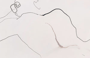Detail of a minimalist life drawing by contemporary, woman artist Katherine Sheers
