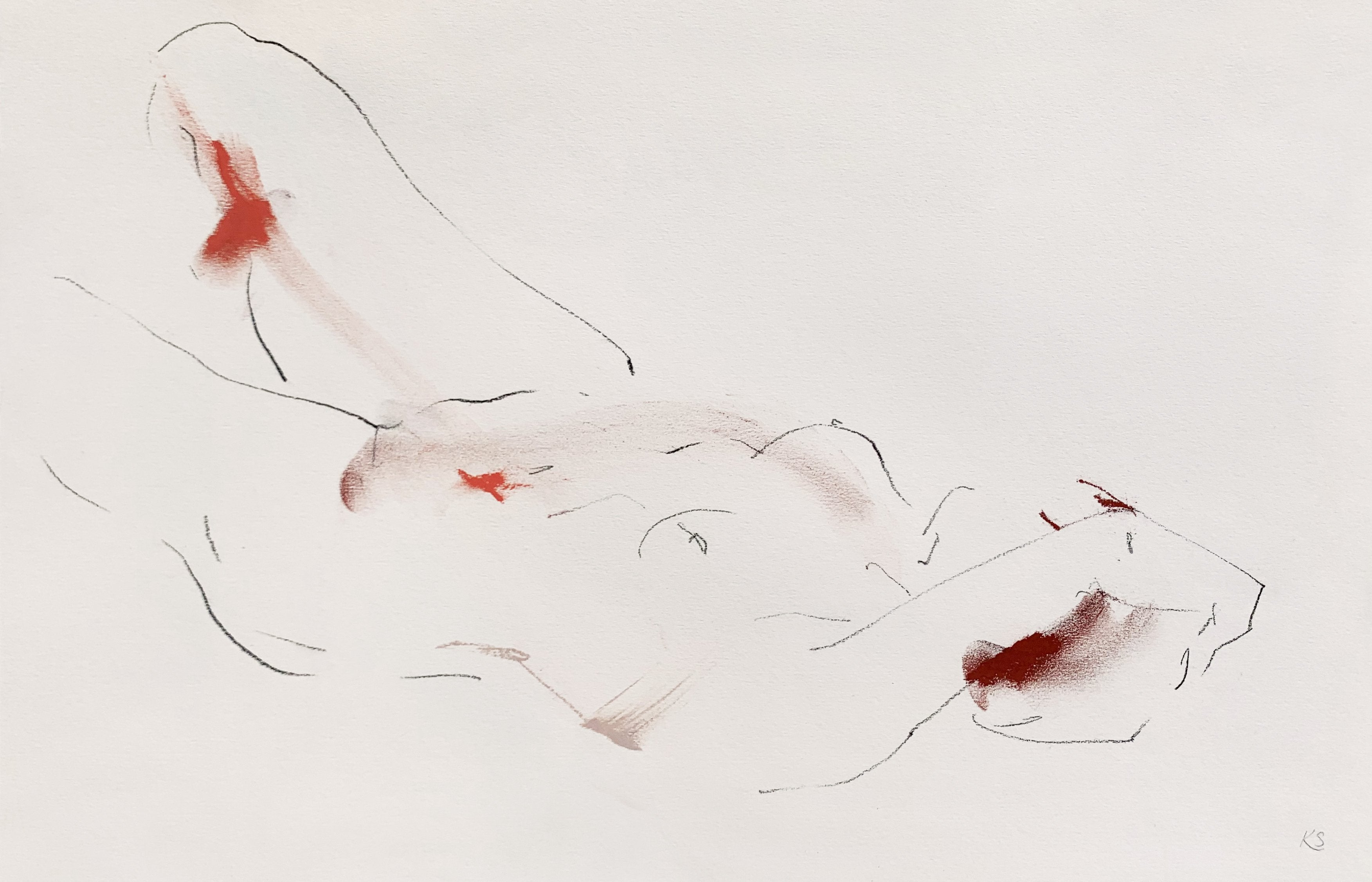 'Your Body Moving Under Pleasure', an expressive life drawing by contemporary, woman artist Katherine Sheers