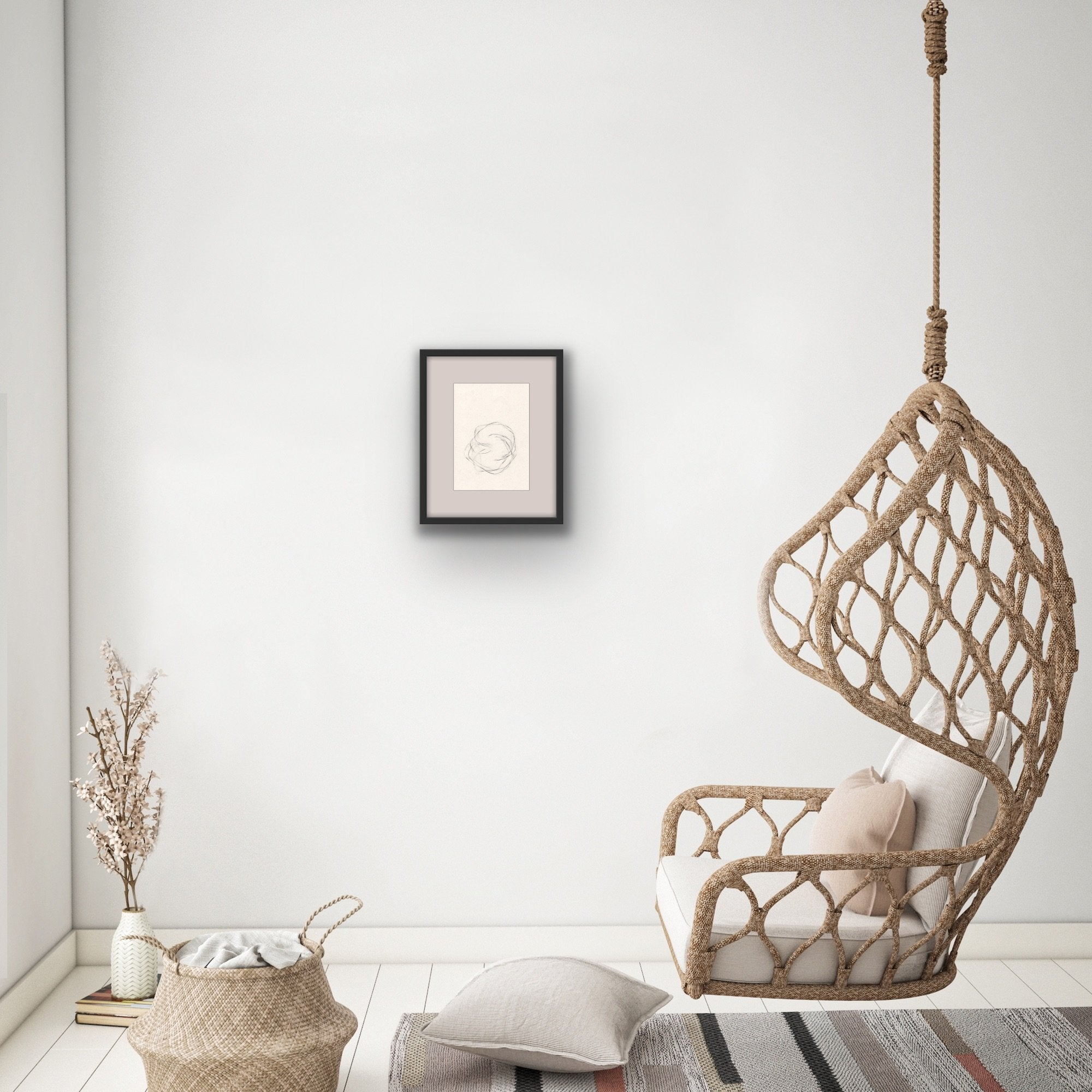 'Unsettled II', a minimalist drawing by contemporary, woman artist, Kayleigh Harris, shown in situ