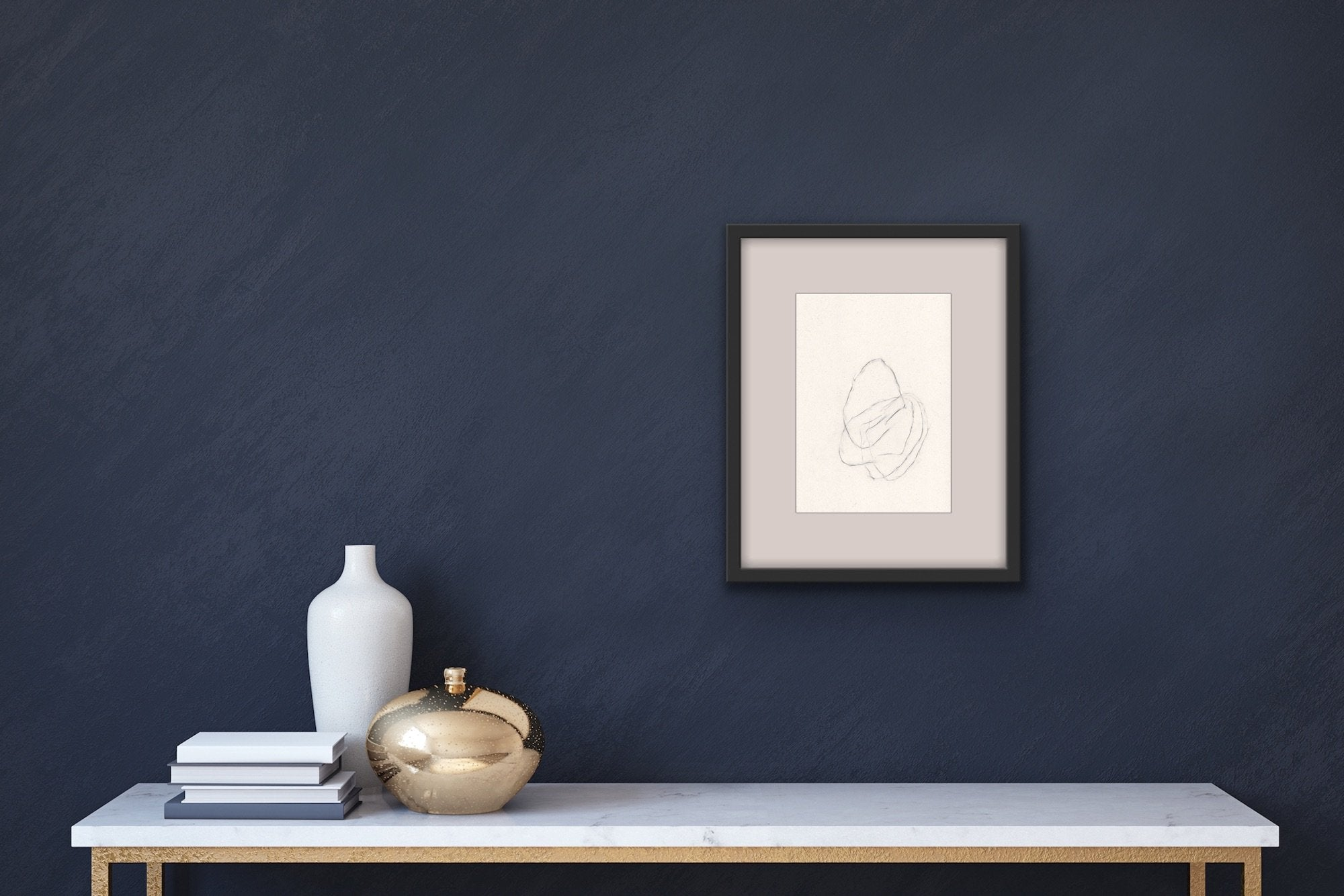'Unsettled XIV', an abstract, minimalist drawing by contemporary emerging artist Kayleigh Harris, shown in situ