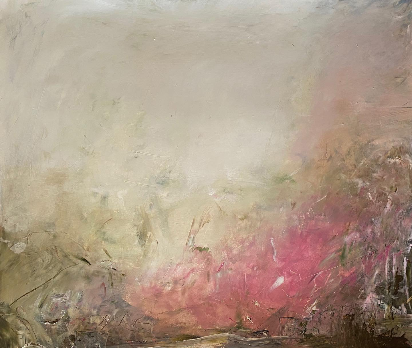 'Heaven's Gaze I', an abstract expressionist landscape painting on paper by contemporary woman artist Rachel Redfern
