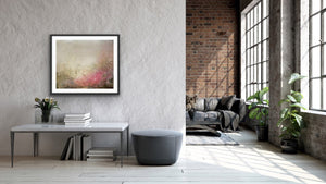'Heaven's Gaze I', an abstract expressionist landscape painting on paper by contemporary woman artist Rachel Redfern, shown in situ