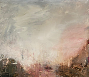 'Heaven's Gaze II', an abstract expressionist landscape painting on paper by contemporary woman artist Rachel Redfern