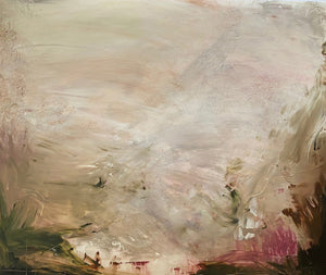 'Heaven's Gaze III', an abstract expressionist landscape painting on paper by contemporary woman artist Rachel Redfern