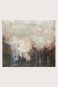 'Wayward Dusk', an abstract expressionist landscape painting on paper by contemporary woman artist Rachel Redfern