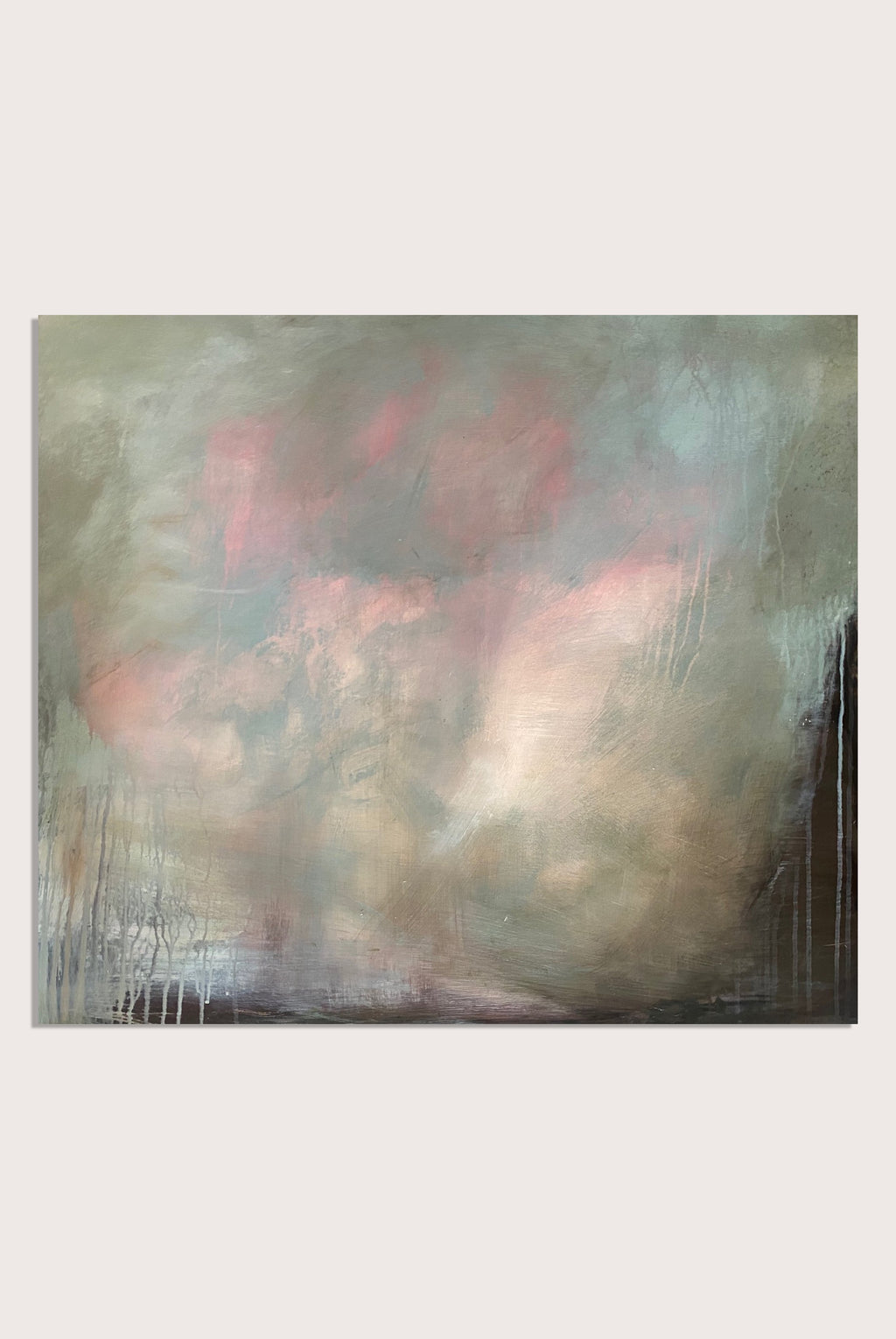 'Whispers In The Morning I', an abstract expressionist landscape painting on paper by contemporary woman artist Rachel Redfern