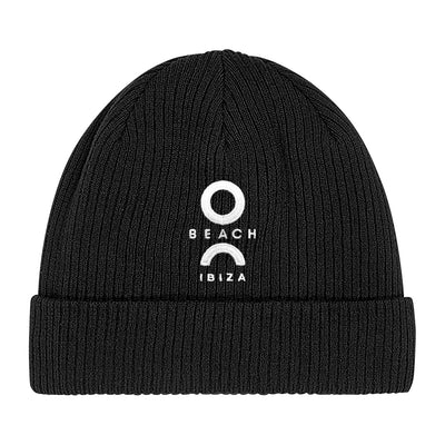 O Beach Logo White Embroidered Beanie Hat-O Beach Ibiza Store