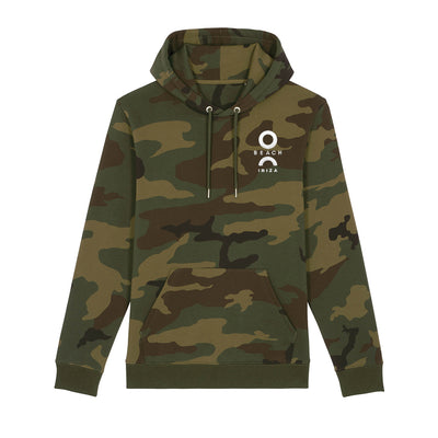 O Beach Logo White Unisex Camo Hooded Sweatshirt-O Beach Ibiza Store