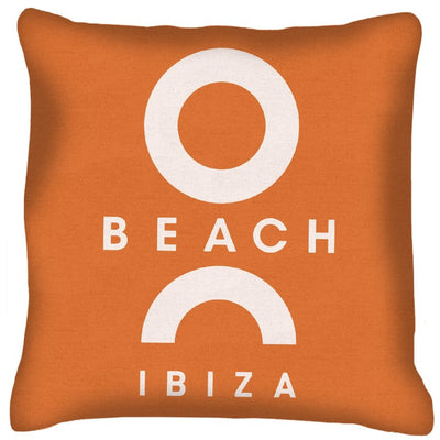 O Beach White Logo Cushion-Cushion-O Beach Ibiza