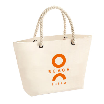 O Beach Orange Logo Rope Handle Beach Bag-Totebag-O Beach Ibiza
