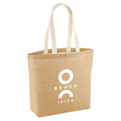 O Beach White Logo Jute Shopping Bag-Totebag-O Beach Ibiza