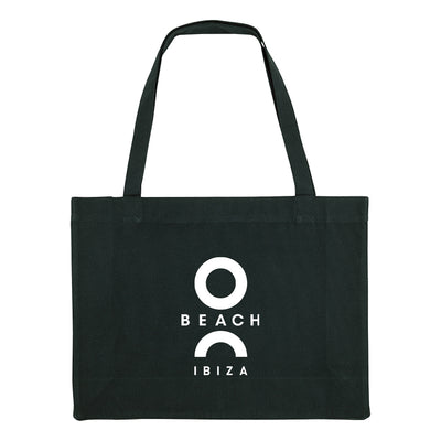 O Beach Logo White Woven Shopping Bag-O Beach Ibiza Store