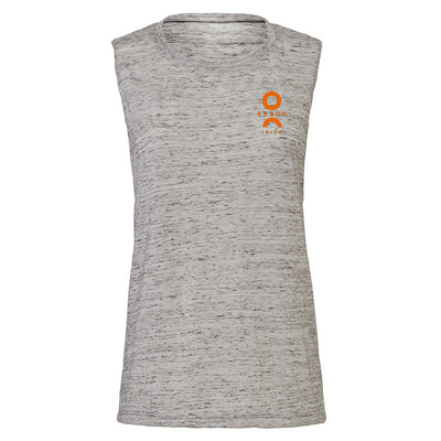 O Beach Orange Flock Logo Women's Flowy Muscle Vest-Vest-O Beach Ibiza