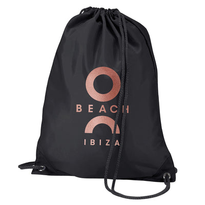 O Beach Metallic Rose Gold Logo Water Resistant Sports Gymsac Drawstring Day Bag-Bag-O Beach Ibiza