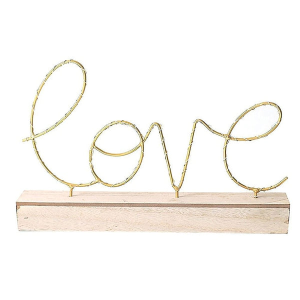 LOVE/HOME Letters Lamp With Wooden Base Home Decor