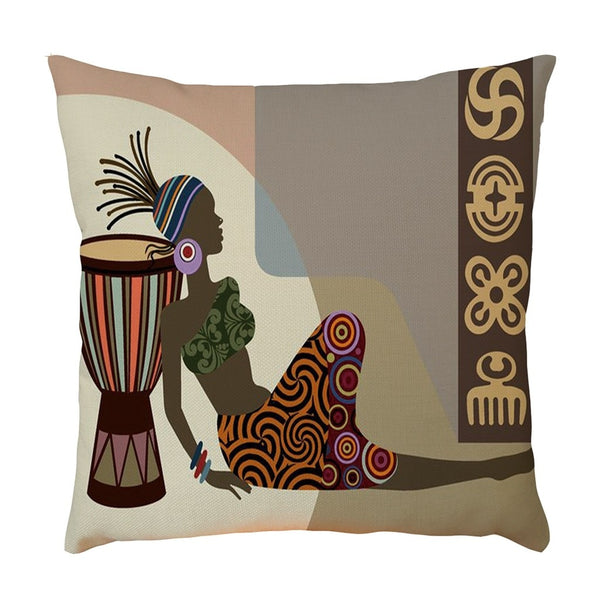 African Women Flax Pillowcase Pillow Case