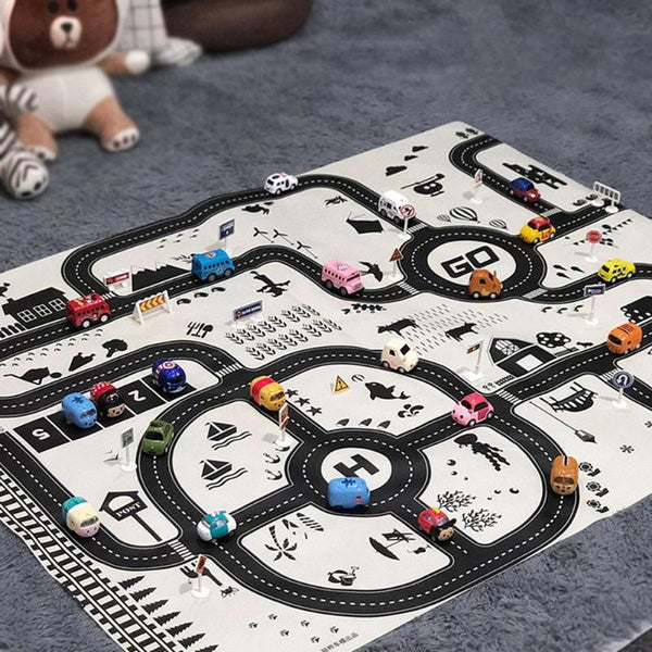 Cute Baby Playing Mat in Cartoon Traffic Park Design