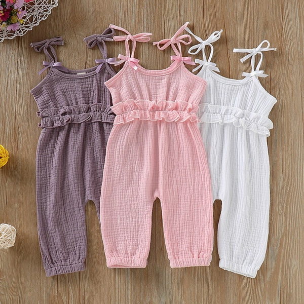 Baby Girl Summer Strap Cotton Sleeveless  Jumpsuit