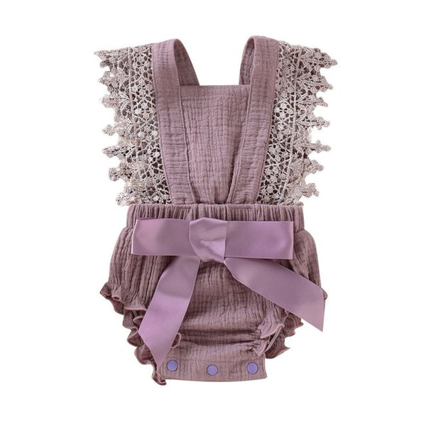 Baby Girl  Sleeveless Lace Bow Romper
