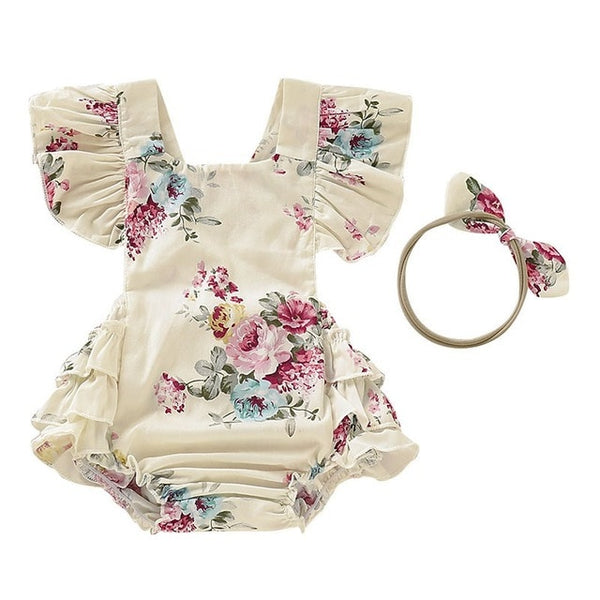 Newborn Baby Girl Floral Romper With Headband