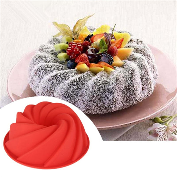 3D Big Swirl Shape Silicone Butter Cake Mold Baking Tool