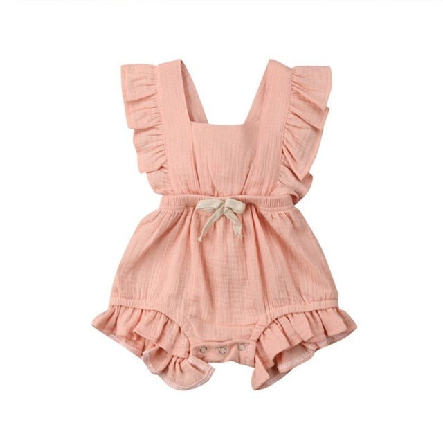 Girl Summer Ruffle Rompers