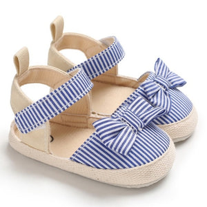 Toddler Breathable Stripe Pattern Anti-Slip Shoes With Bowknot
