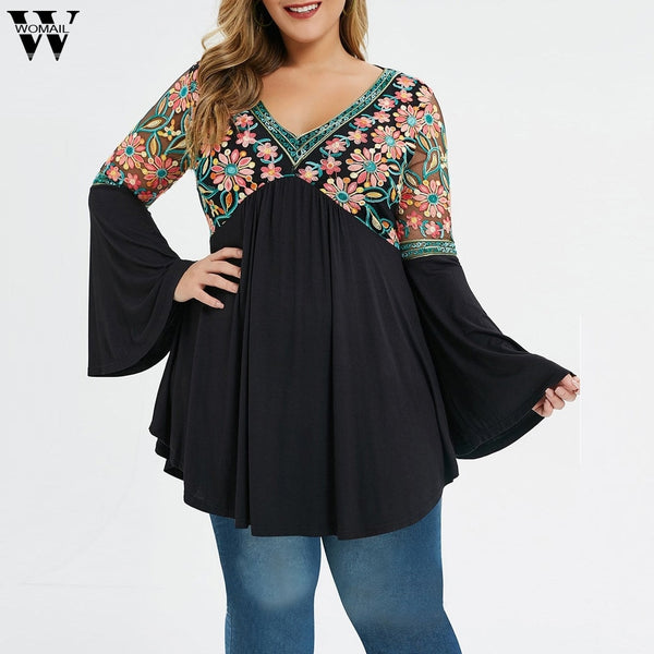 Floral Plus Size Flare Top