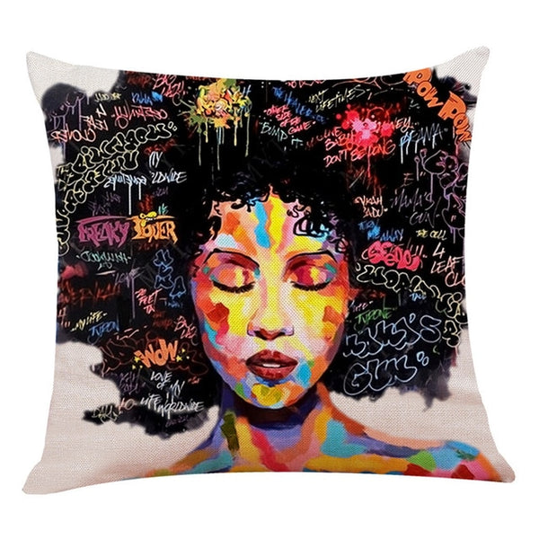 African Girl Lady Oil Painting Throw Pillow Case