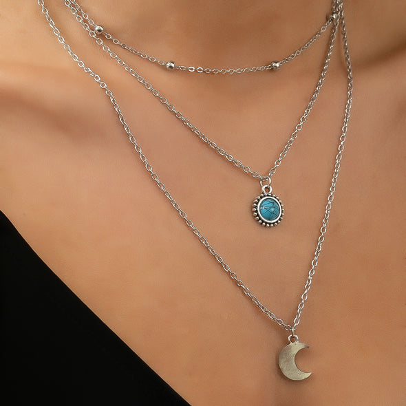 Carly Moon Necklace - Silver